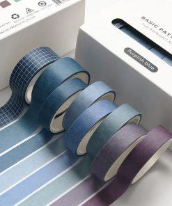 Dekorationstejp - washi tape - Purplish blue - 8 pack