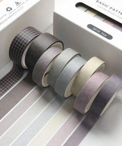 Dekorationstejp - washi tape - Milk tea - 8 pack
