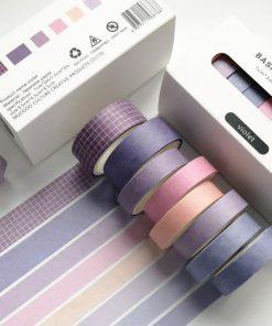 Dekorationstejp - washi tape - Violet - 8 pack