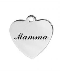 """Berlock / hänge - hjärta med texten """"Mamma"""""""