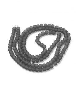 Frostade glaspärlor på sträng - grå 6 mm - ca 140st