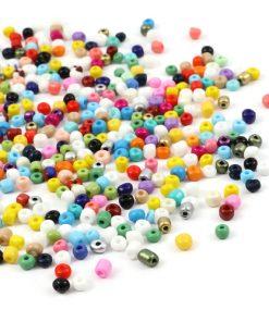 Glaspärlor - Seed beads i mixade färger 4 mm.